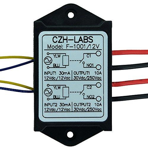 Electronics-Salon 1 Double spst-no 10 Amp Power Module de relais, AC/DC 12 V Tension de contrôle.