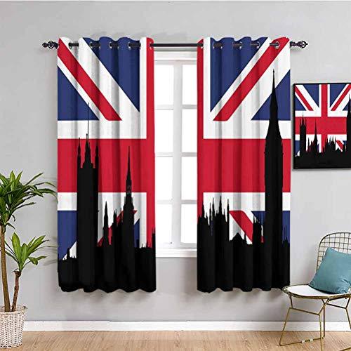 Union Jack lichtblockierende Vorhänge für Wohnzimmer Häuser des Parlaments Silhouette auf UK-Flagge historische...