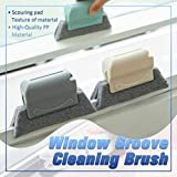Creative Window Groove Cleaning Brush, Hand-held Crevice Cleaner Tools, Fixed Brush Head Design Scouring Pad Material for Door, Window Slides and Gaps, Etc, Easy and Effortless (Blue)…