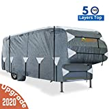 KING BIRD Extra-Thick 5-Ply Top Panel & 4Pcs Tire Covers Deluxe 5th Wheel RV Cover, Fits 26'-29' RV Cover -Breathable Water-Repellent Rip-Stop Anti-UV with Storage Bag (26'-29'New)