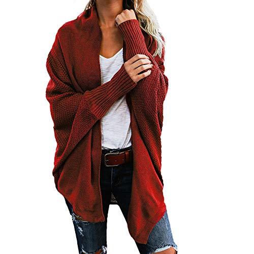 iHENGH Damen Herbst Winter Cardigan Top,Women Lange ÄRmel Solid Color Casual Mantel Pullover Coat Strickjacke Tops