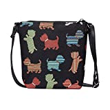 Signare Tapestry Small Crossbody Bag Sling Bag for Women with Animal and Pet Designs (Playful Puppy, SLING-PUPPY)