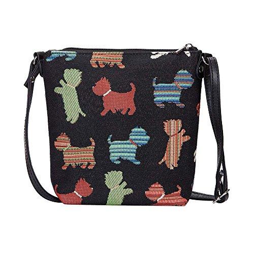 Signare Tapisserie Kleine Tasche Damen, Handtasche Damen Klein, Reisepass Tasche, Mini Handtasche mit Tier- und Haustierentwürfen (Verspielter Welpe)