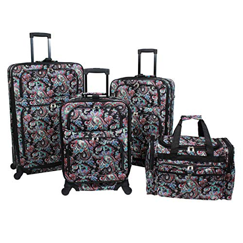 World Traveler 4-Piece Rolling Expandable Spinner Luggage Set-Paisley