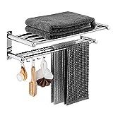 Bathroom Towel Rack Shelf - Lavatory Bath Towel Rack with Two Towel Bars 5 Hooks, Wall Mount Towel Holder SUS 304 Stainless Steel Polished Surface Finish