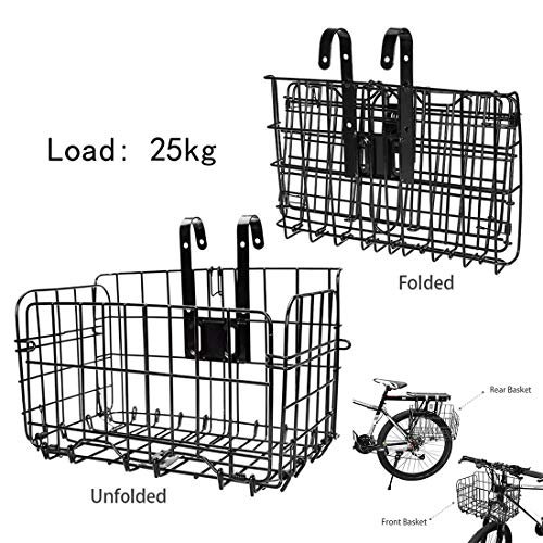 Folding Rear Bike Basket,Wire Mesh Fold-Up Detchable Front Bag Rear Hanging Bike Basket Bicycle Bag Cargo Rack for Mountain Bike Accessories Bike Frame Basket,32.5x20x22CM【US Warehouse Shipment】