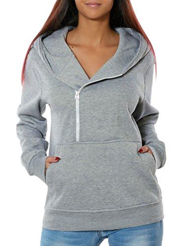 Daleus Damen Kapuzenpullover Hoodie Sweatshirt Pullover mit Kapuze No 15825 XL / 42 Hellgrau