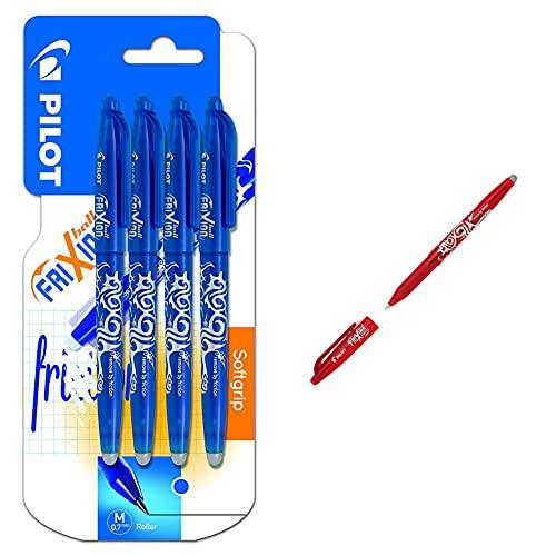 Pilot Spain Frixion Ball Bolígrafo borrable, 4 unidades, color azul + Pilot 224101202 Bolígrafo de 0.7 mm, color rojo