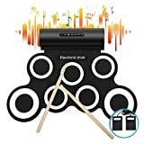 iWord Electronic Drum Set, Built-in Dual Speakers Roll Up Drum Practice Pad 10 Hours Playtime with Headphone Jack Drum Pedals Drum Sticks Great Holiday Birthday Gift for Kids