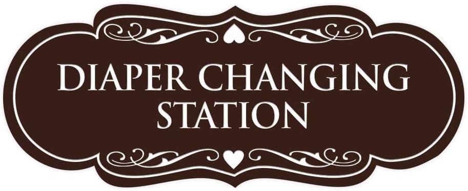 Signs ByLITA Designer Diaper Changing Station Sign(Dark Brown) - Small