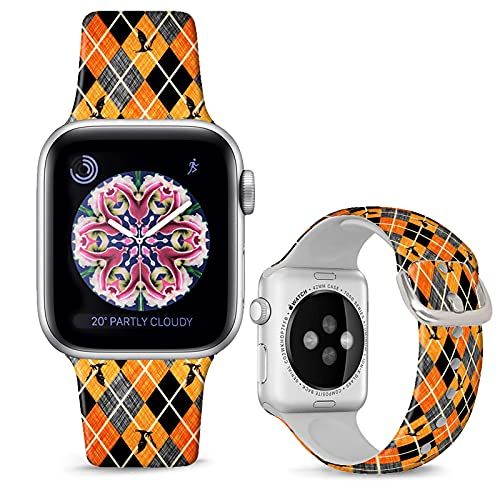 DOO UC Halloween Floral Silicone Watch Bands Compatible with Apple Watch 42mm/44mm for Women/Men ,Halloween Bat Silicone Fadeless Pattern Printed Replacement Strap for iWatch Series 6 5 4 3 2 1