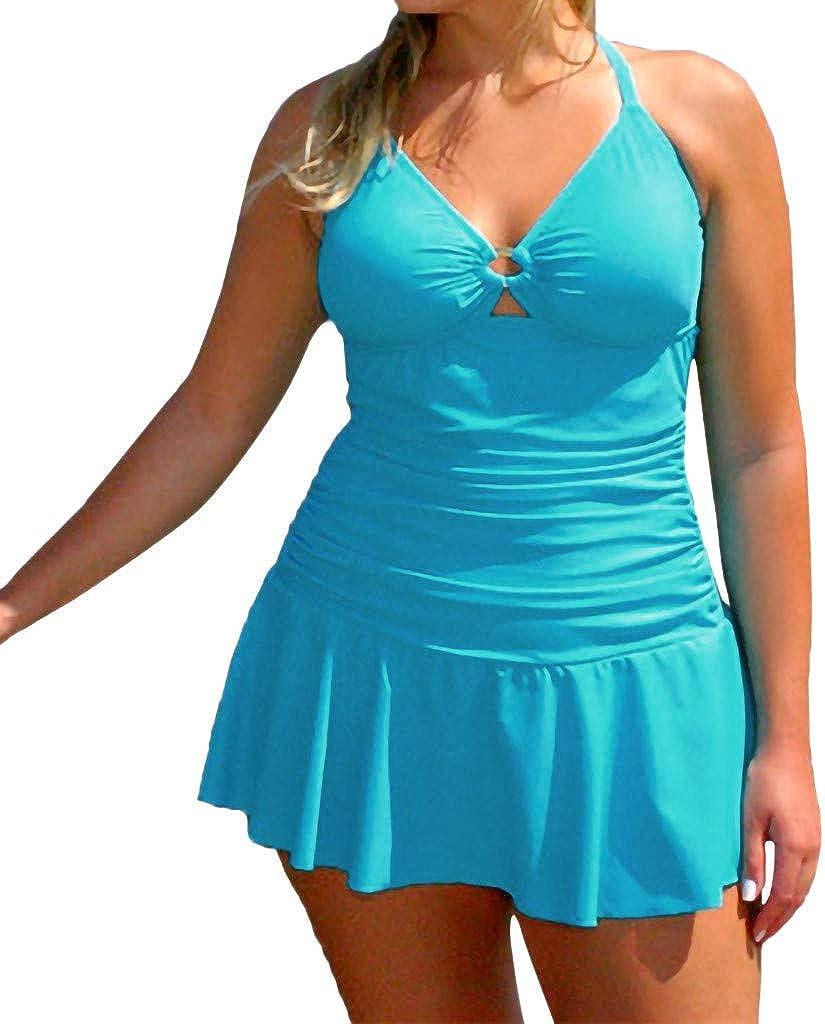 TOTOD Plus Size Swimsuit Swim Dress, Modest Flowy Tankini for Women, Push-Up Pad Swimwear One-Piece