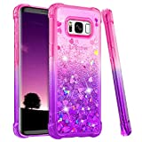Ruky Samsung Galaxy S8 Case, Gradient Quicksand Series Glitter Bling Flowing Liquid Floating Soft TPU Bumper Cushion Protective Women Girls Phone Case for Galaxy S8 (Pink Purple)