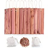 GOGOUP Cedar Blocks for Clothes Storage, 100% Nature Aromatic Red Ceder Wood Planks Boards Hanger and Chips Bag Freshener Protection for Closet wardrobes Boxes Bins and Drawers 12 Pcs