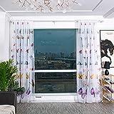 Boyouth - Cortinas de Gasa Transparentes con Estampado de Mariposas de Colores, Cortinas y Cortinas para Dormitorio, Estudio, Sala de Estar
