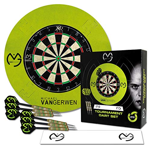 TW24 Dart Turnier Set MVG mit Surround grün - Dartscheibe Michael Van Gerwen - Wurflinie - Surround Ring - Steeldarts