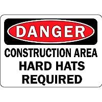 危険建設エリアのハード帽子が必要 メタルポスター壁画ショップ看板ショップ看板表示板金属板ブリキ看板情報防水装飾レストラン日本食料品店カフェ旅行用品誕生日新年クリスマスパーティーギフト