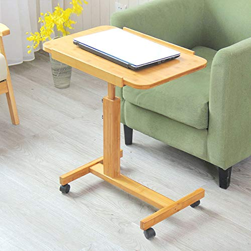 YUNLILI Conveniente Escritorio de computadora Plegable, rotación de 360 Grados Pantalla portátil móvil con sofá de Rodillo Mesa Lateral pequeña Mesa Cuadrada Mesa multifunción (Size : 70cm)