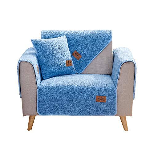 YUTJK Cojín de Sofá Universal de Cuatro Estaciones,Cojín de Protección de Sofá,Funda de Asiento de Tela,Funda de sofá de Lana de Cordero Engrosada,Vendido en Pedazos,Azul_Los 70×90cm