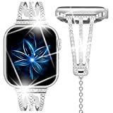 Goton Compatible for Apple Watch Band 40mm 38mm Bling, Women Girl Lady Diamond Adjustable Bangle Cuff Watch Straps Bracelet for iWatch Series 5 4 3 2 1 (Silver, 40mm/38mm)