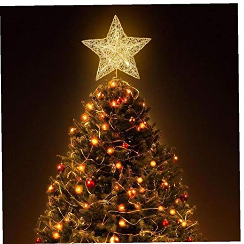 Christmas Tree Star Topper Lighted Glittered Tree-top Star for Christmas Tree Ornament Indoor Party Home Decoration