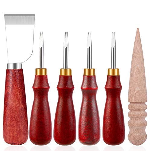 Ekalee Leder Handwerk Werkzeuge Set-Leder Schneidemesser mit 4 Größen Leder Kanten Schneider und Holz Rand Slicker für Leder Schneiden Handwerk