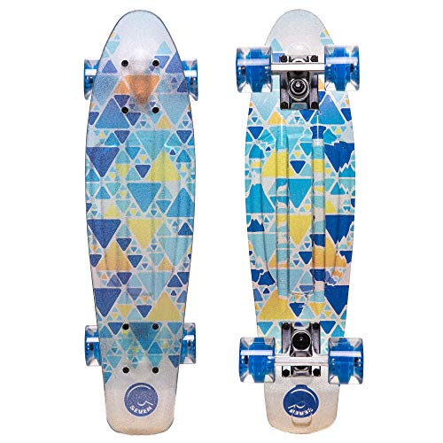 Cal 7 Complete Mini Cruiser | 22 Inch Micro Board | Vintage Skateboard for School and Travel (Transparent Riviera)