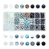 PH PandaHall 24 Color 8mm Round Glass Beads, 720pcs Black White Bracelet Beads Assortment Lot for Necklace...