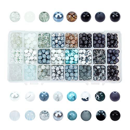 PH PandaHall 24 Color 8mm Round Glass Beads, 720pcs Black White Bracelet Beads Assortment Lot for Necklace Bracelet Jewelry Making, Gradual Earth Tone
