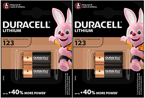 4 pilas fotovoltaicas CR123 3 V Duracell Ultra de litio, DL123 - EL123A - CR123A - CR17345