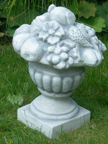 Dekorationselement | Amphore mit Früchten | Dekofigur | Gartendeko | Garten Deko | Gartenfigur | Gartenskulptur | Höhe 35 cm | Aus Beton
