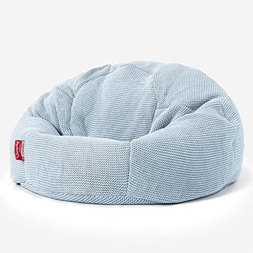 Lounge Pug, Puff Redondo con Escabel, Ellos Punto Grueso Azul Brumoso