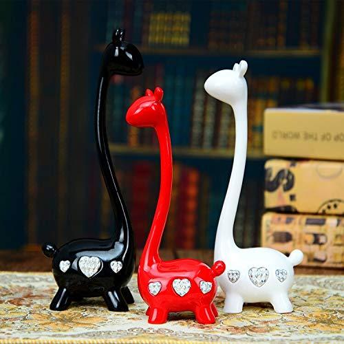 Hmvlw Decoraciones de esculturas para el hogar Escultura ciervos Crafts animales una familia de tres Adornos Inicio Sala de la boda de decoración de interior Arte de la resina regalo regalo creativo d