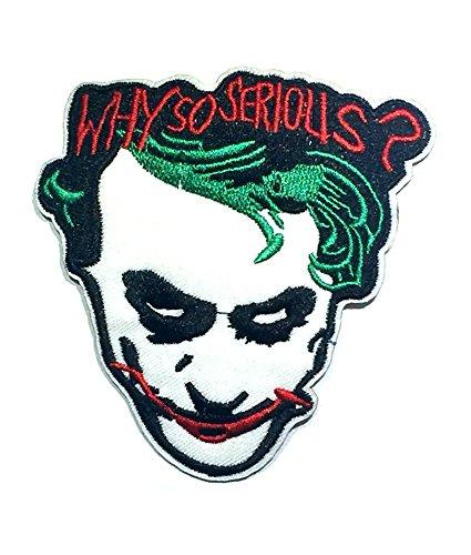 Aplicación clásica DC Comics The Joker ¿Por qué tan serio? Parche bordado para cosplay o planchado