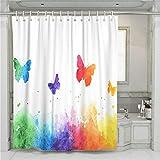 Oduo Modern Duschvorhang, Wasserdicht Polyester Badvorhänge 3D Drucken mit Schmetterling Muster Waschbar 180x180 180x200 Bad Vorhang mit 12 Haken (Regenbogen,90x180cm)