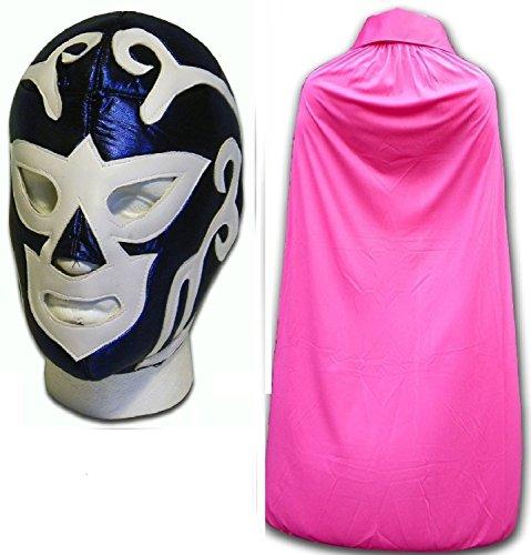 HURACAN RAMIREZ disfraz azul adulto luchador mexicano boxeo mask W/ rosa CAPA