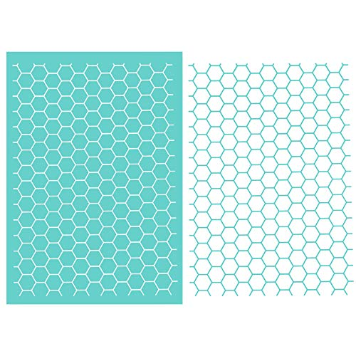 She Love DIY Self-Adhesive Silk Screen Printing Stencil, Honeycomb Design Mesh Stencils Transfer for DIY Home Decor, Polymer Clay, T-Shirts, Ceramic, Wood, Tote-Bags, Fabric, Easter (Honeycomb)