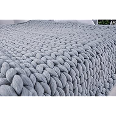 Chunky Giant Knit Thick Yarn Blanket Bulky Knit, Extreme knitting Knitted Pet Bed Chair Sofa Yoga Mat Rug (51 x 67 inches (130 cm x 170 cm), grey)