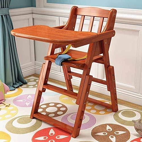 WXX Bambino Alta Sedia di Alimentazione del Bambino Mangiare Dinning Sedia di Legno Portatile Sedia Pieghevole Regolare l'altezza del Sedile (Colore Wood) (Color : Peach Color)
