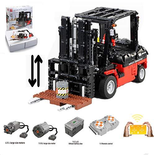 HYZM Technic Carrello elevatore Modellino, 1719 Pezzi Telecomandato Carrello elevatore con 5 Motori, 1/10 Set di Costruzioni Compatibile con Lego Technics