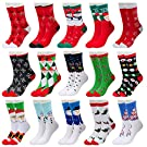15 Pairs Women's Christmas Holiday Socks Cotton Knit Crew Xmas Socks for Girls Novelty Christmas Gifts