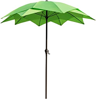 WWWRL Garden Parasol Balcony Sun Shade Umbrella | 2.5m| Tiltable/Hand Crank / 10 Ribs | Height 2.55m | for Patio/Terrace/Fishing/Square/Coffee Table/Beach/Pool - Without Base