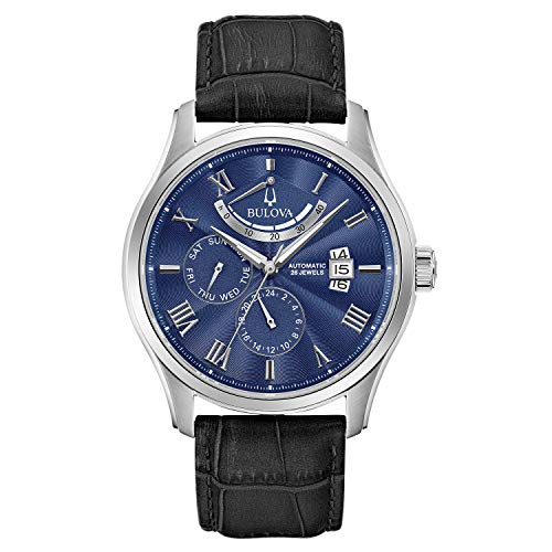 Bulova Classic 6 Hand, Power Reserve Mens Watch, Stainless Steel with Black Leather Strap, Silver-Tone (Model: 96C142)