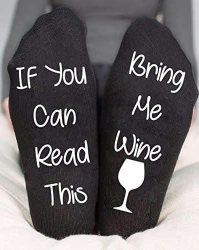 If You Can Read Bring Me Wine Socks Ankle Black