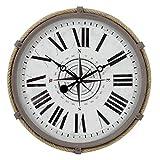17 Pulgadas Metal Cuerda Reloj De Pared Europeo Retro Reloj No - Tic-TAC Silencioso Batería Funcionado Vintage Reloj De Pared Fácil De Leer para Interiores Decoración-A 43x43cm(17x17inch)