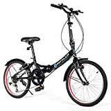 Goplus 20   Folding Bike, 7 Speed Shimano Gears, Lightweight Iron Frame, Foldable Compact Bicycle with Anti-Skid and Wear-Resistant Tire for Adults (U-Shape Crossbar)