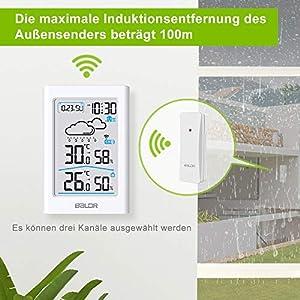 BALDR Wetterstation Funk mit Außensensor, Digital Thermometer Hygrometer Innen und Außen Raumthermometer Hydrometer Feuchtigkeit mit Wettervorhersage, Uhrzeitanzeige, Wecker und Nachtlicht (Weiß)