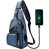 Sling Bag - Shoulder Backpack Chest Bags Crossbody Daypack for Women & Men with USB Charging Port for Travel/Hiking/Outdoor Sport (Blue)