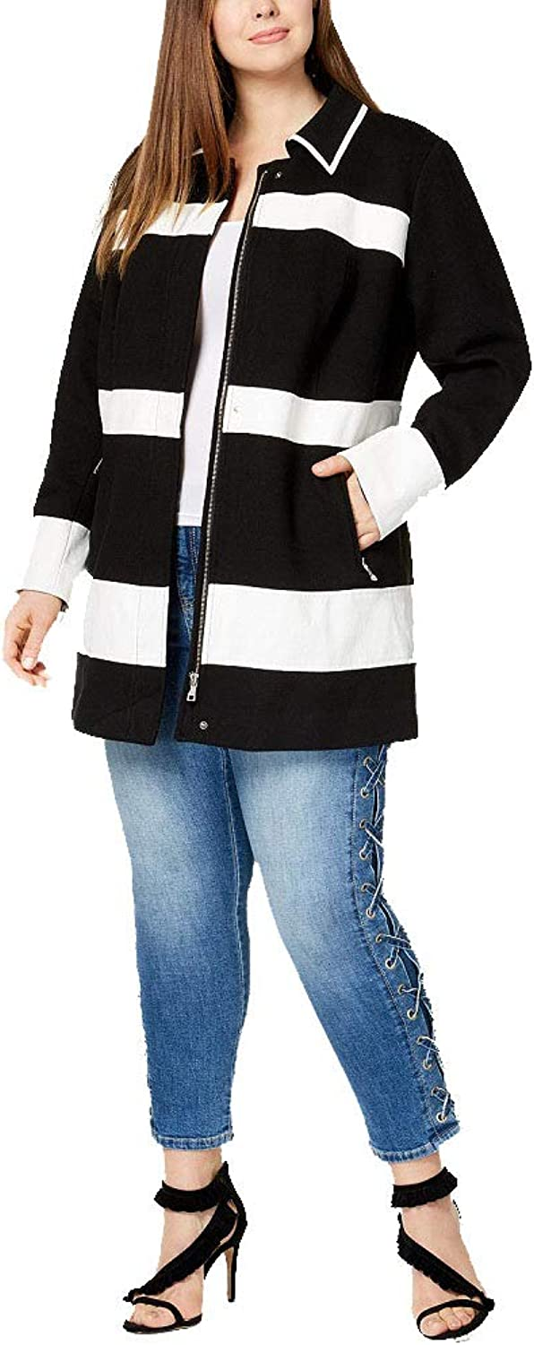 I.N.C. International Concepts Women's Plus Size MixedMedia Striped Jacket