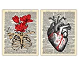 Vintage Flower Poster Art Prints with Heart and Ribcage - Set of 2 8x10 Unframed Anatomy Art and Flower Prints For Home, Office, Goth Room Decor - Creative Gift Idea for Doctors, Nurses, Students